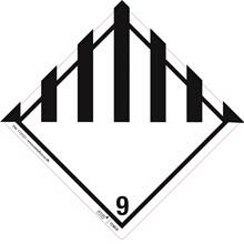 Fareetiket Klasse 9 hvid/sort 100x100mm ADR 250stk