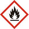 Fareetiket Brandfarlig rød/ hvid 100x100mm CLP 250stk