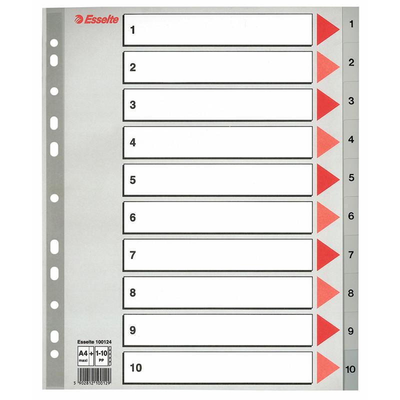 Find Plastregister Esselte 1-10 Maxi grå A4 m kartonforblad hos ... b47083d1b093b