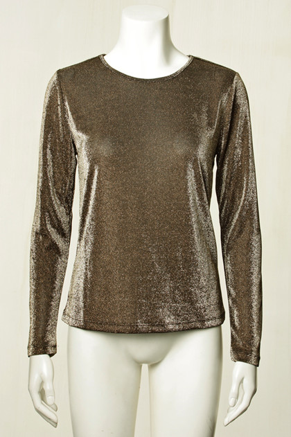 CO' COUTURE BLUSE, SHIMMER MESH GULD
