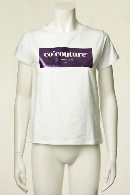 CO' COUTURE T-SHIRT, LAUREL FOIL VIOLET