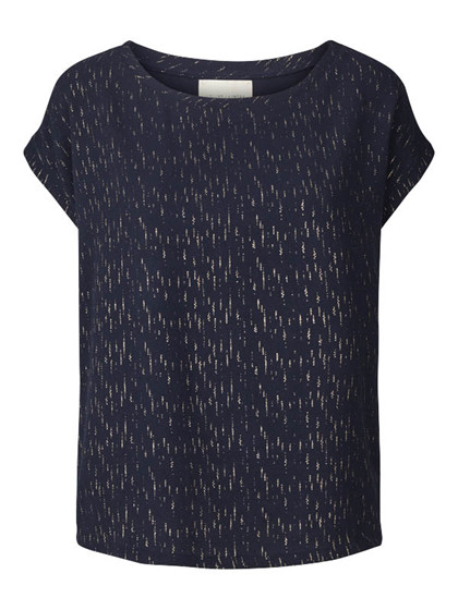 LOLLYS LAUNDRY TOP, KRYSTAL NAVY/ GULD