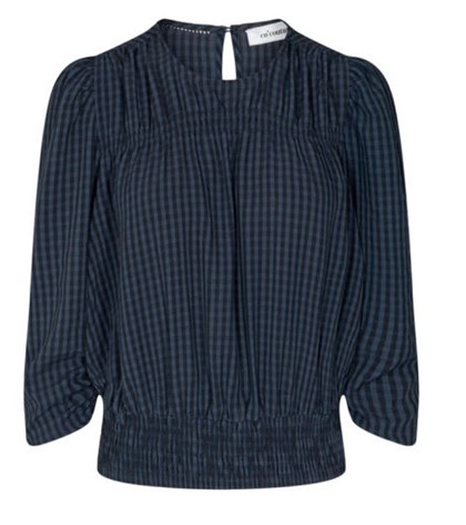 CO' COUTURE BLUSE, ANGE CHECK NAVY
