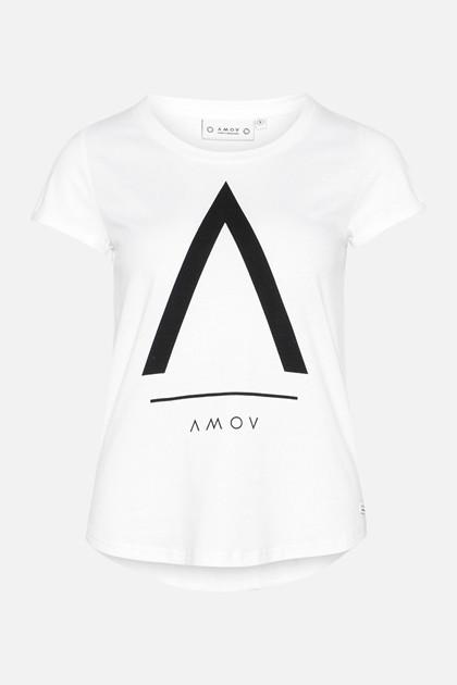 AMOV T-SHIRT, ALMA A LOGO HVID