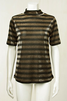 CO' COUTURE T-SHIRT, STRIPE MESH