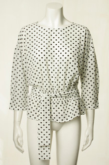 CO' COUTURE BLUSE, CARMINE DOT OFF WHITE