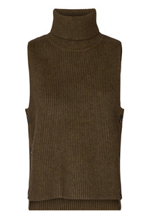 CO' COUTURE VEST, ROW BUTTON ARMY