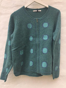 MANSTED CARDIGAN, DOT EMERALD