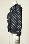 CO' COUTURE SKJORTE, DOT FRILL NAVY
