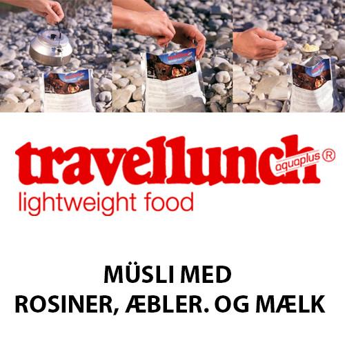 Travellunch Müsli m. rosiner, æbler, og mælk