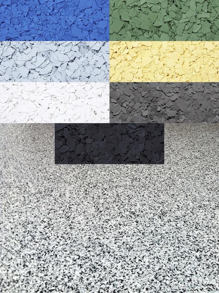 Farveflakes til epoxybelægning - vælg størrelse og farve