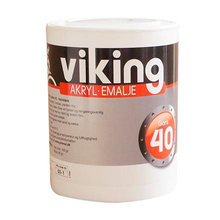 Viking akryl-emalje glans 40, hvid, 1 ltr