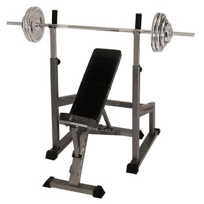 Finnlo Skråbænk, Bænkpres og SquatStativ + 60 kg. vægtsæt