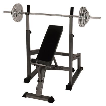 Finnlo Skråbænk, Bænkpres / SquatStativ + 110 kg. vægtsæt