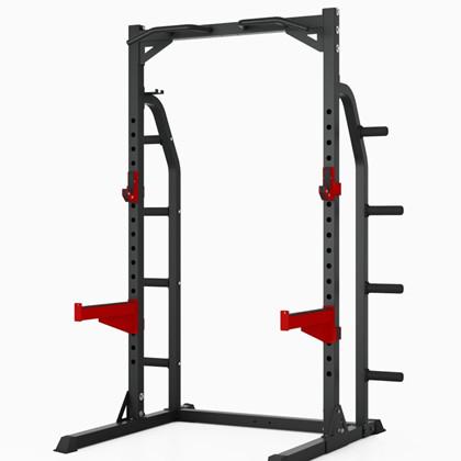 Peak Fitness Half Rack m. 128kg sort ol vægtskiver og Peak Fitness Fid Bænk