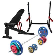 Peak Fitness 110 kg Træningsæt med 30 mm gummi-vægtskiver