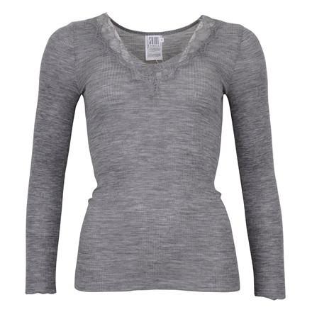SAINT TROPEZ TOP W. LACE 0011 GREY