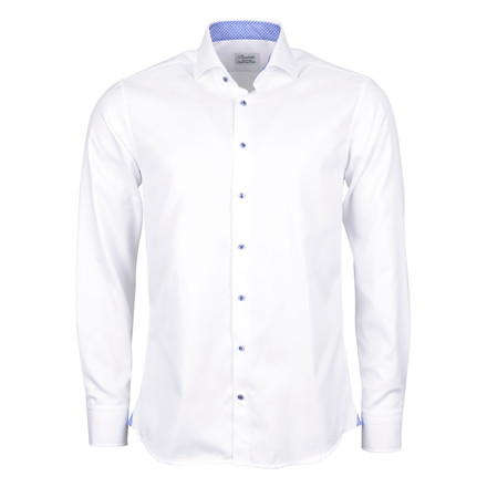Stenströms FITTED BODY WHITE SHIRT - blue button