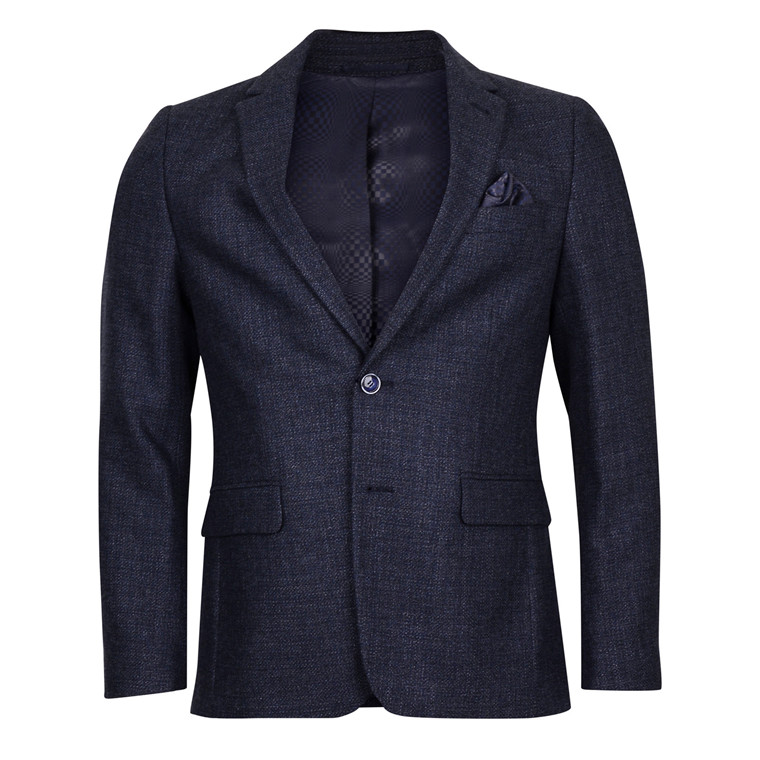 2BLIND2C MENS NAVY MIX WOOL BLAZER
