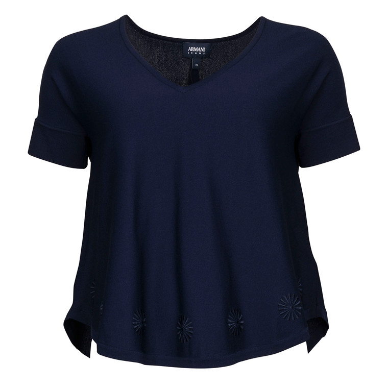 Armani BROD KNIT BLOUSE BLUE