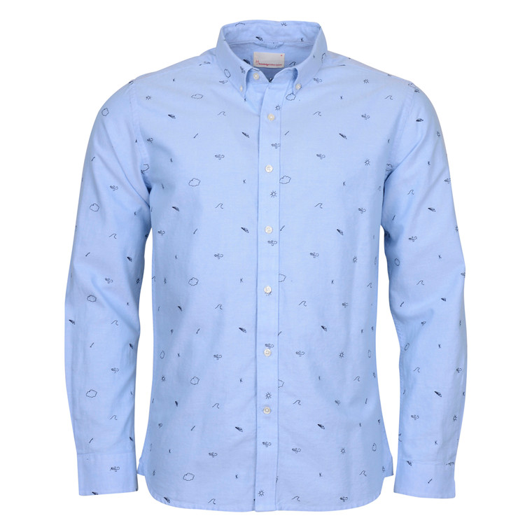 Knowledge Cotton Apparel OXFORD SHIRT BLUE