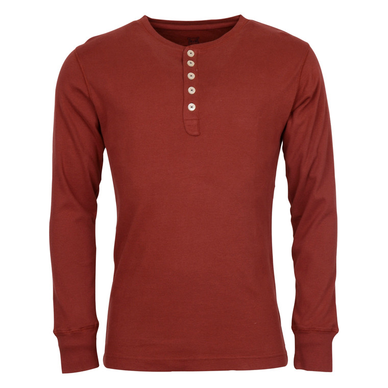 Knowledge Cotton Apparel RIB KNIT HENLEY 1104
