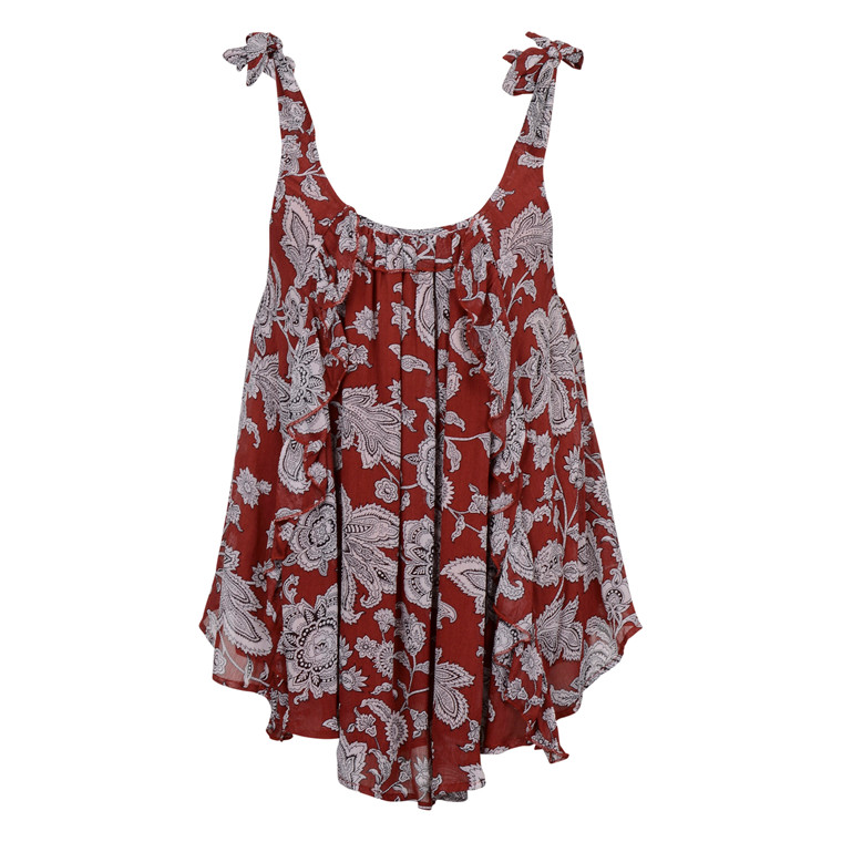 MAISON SCOTCH PRINTED TANK TOP RUFFLE