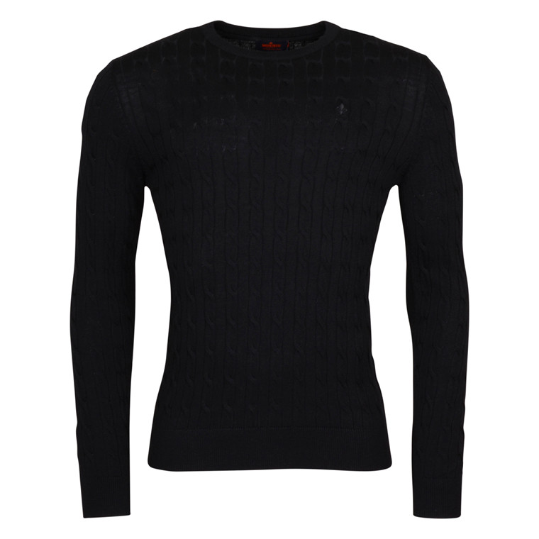 MORRIS BLACK MERINO CABLE KNIT