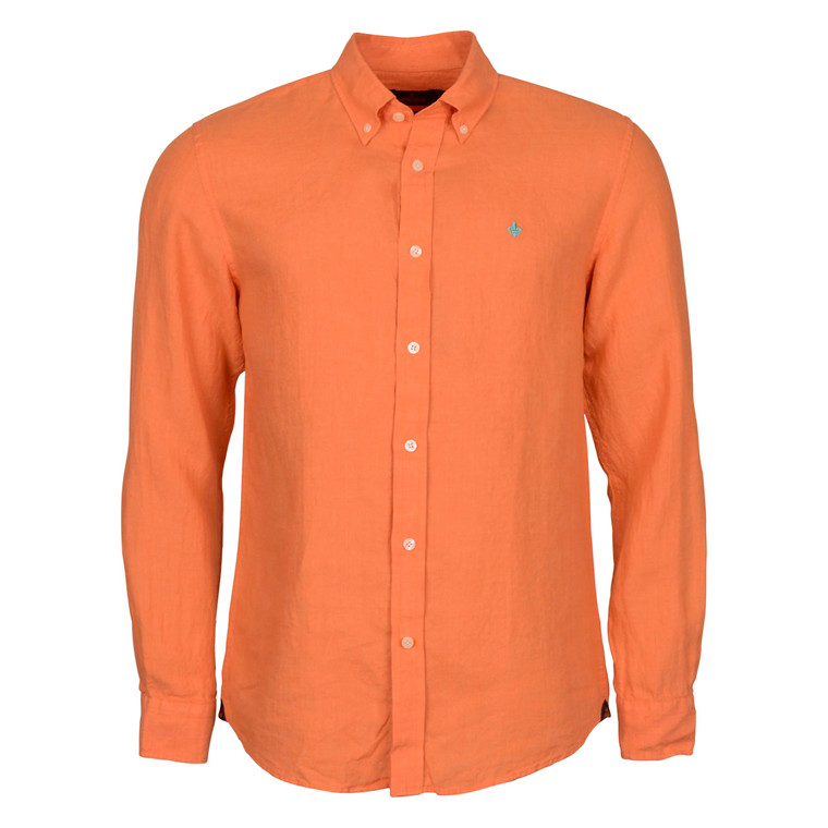 MORRIS DOUGLAS LINEN SHIRT-ORANGE