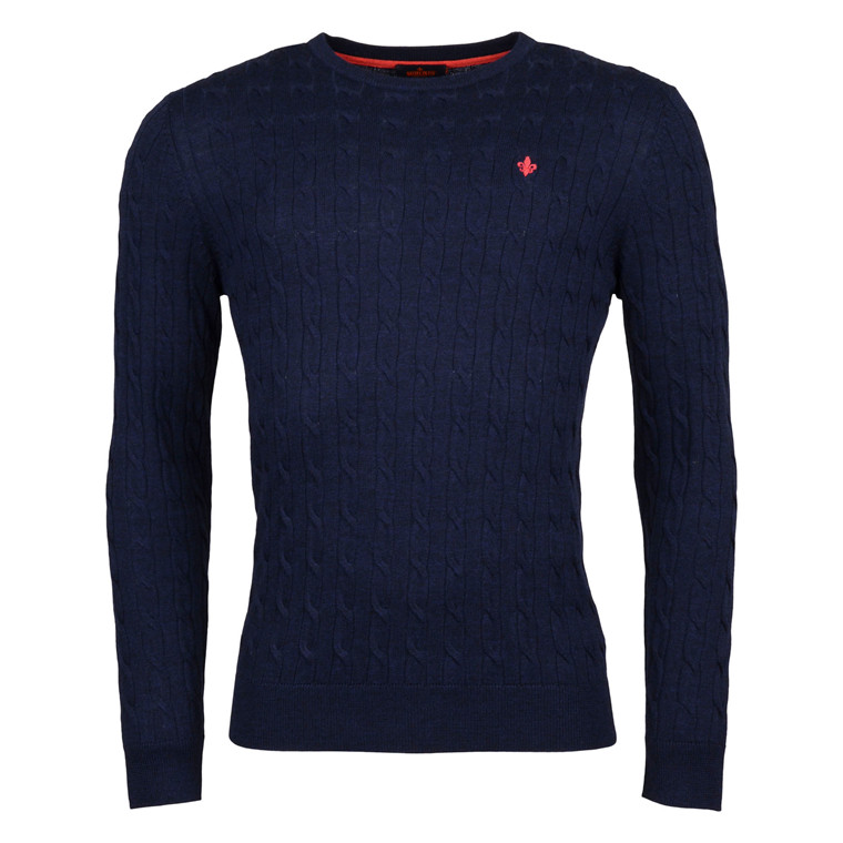MORRIS MERINO CABLE KNIT-NAVY