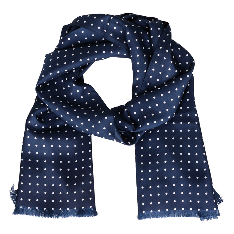 MORRIS NAVY DOT SILK SCARF