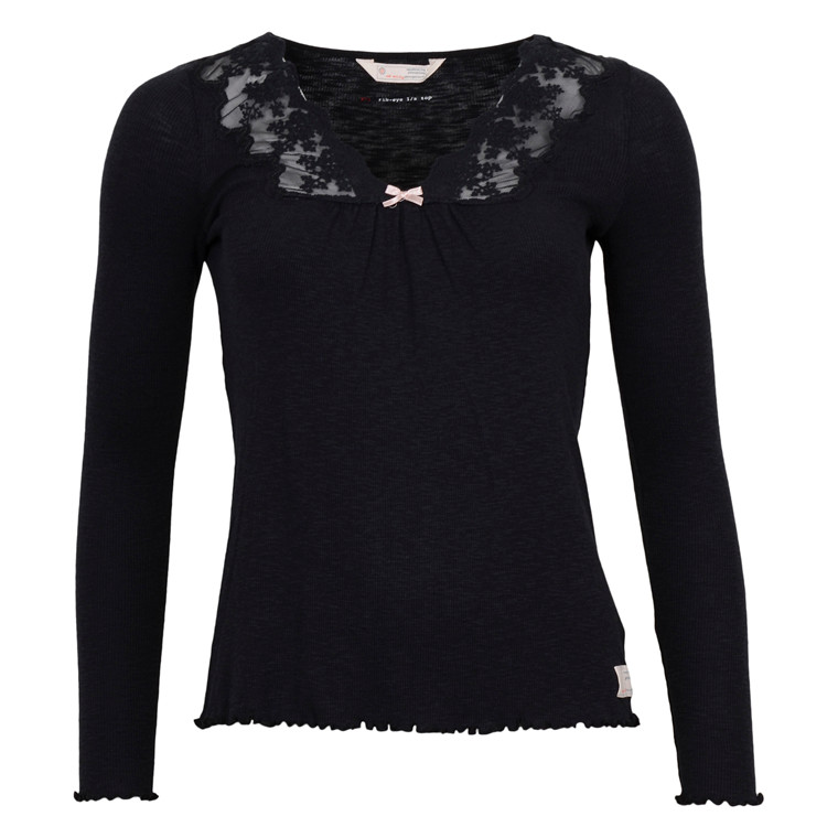 ODD MOLLY RIB EYE L/S TOP BLACK