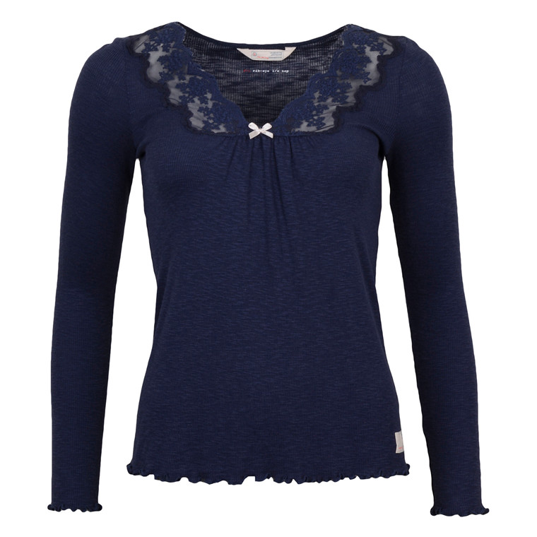 ODD MOLLY RIB-EYE L/S TOP BLUE