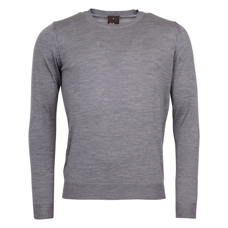 OSCAR JACOBSON CUSTER MERINO R.NECK-GREY