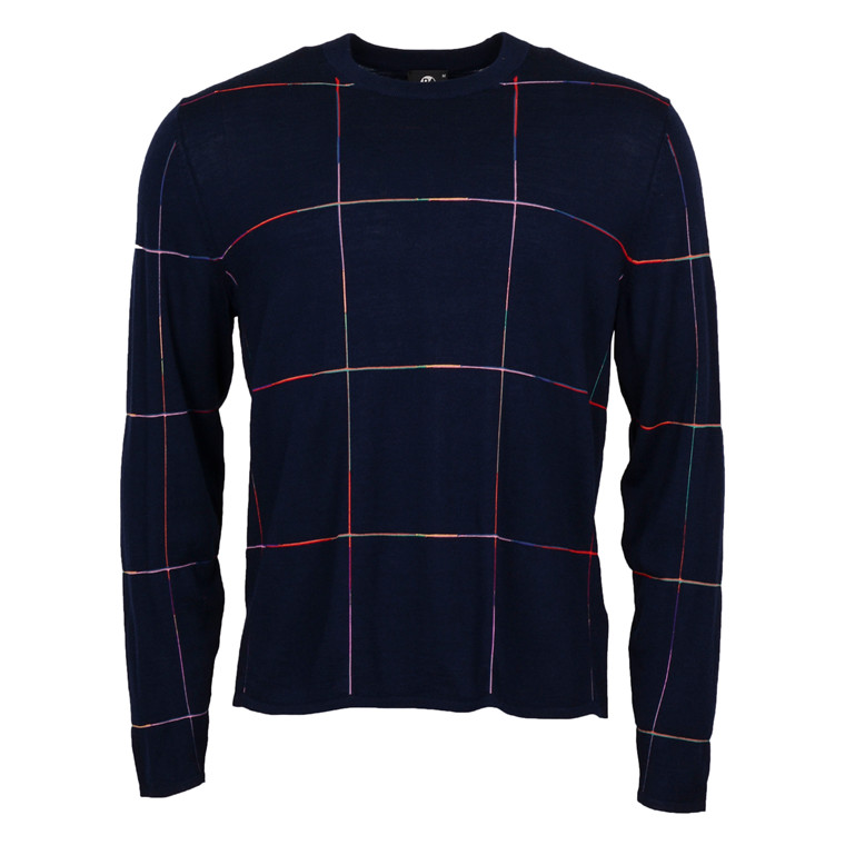 Paul Smith CHECK MULTI COL CREW NECK