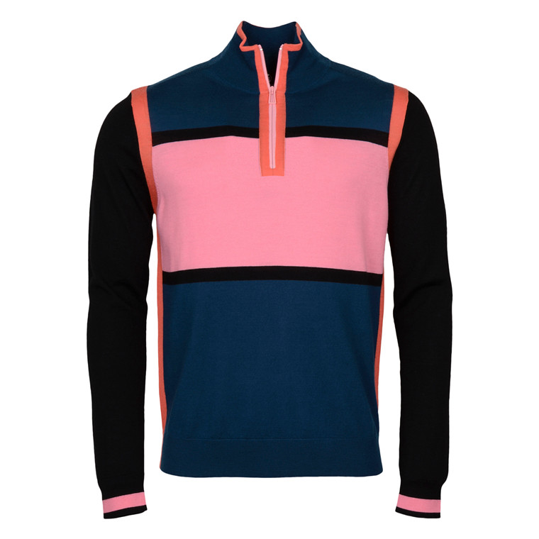 Paul Smith PINK ZIP NECK PULLOVER