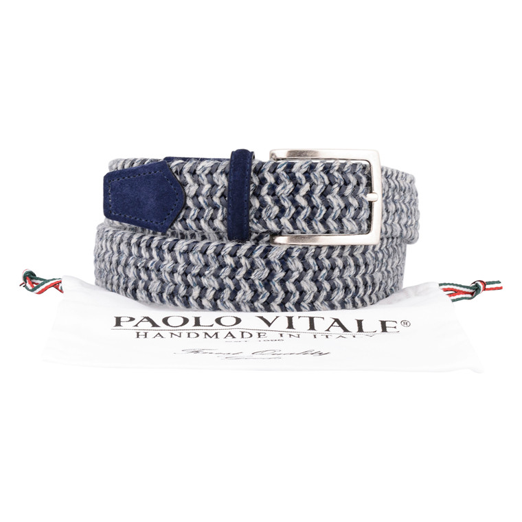 Paulo Vitale ELASTIC LEATHER WOOL MIX BELT