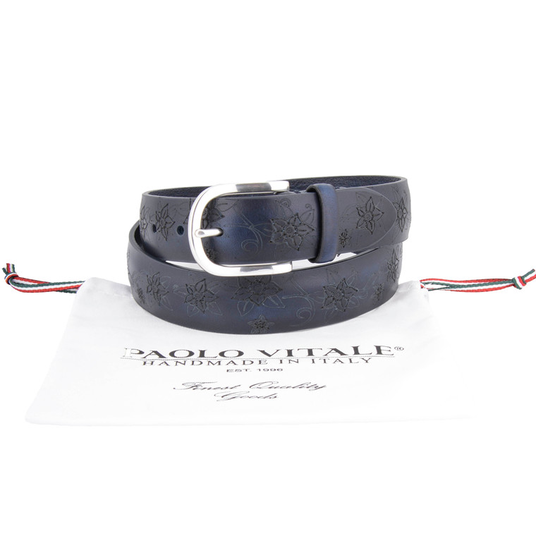 Paulo Vitale FLORAL CUT BELT-NAVY