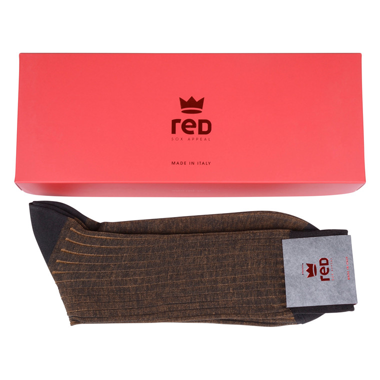 RED MENS RIB SOCK-BLACK