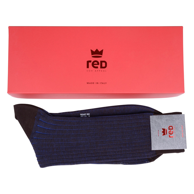 RED MENS RIB SOCK - NAVY
