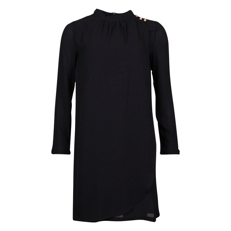 SAINT TROPEZ DRESS W. OVERLAP BLACK