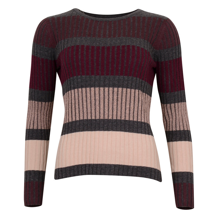 SAINT TROPEZ STRIPED KNIT BLOUSE WINE
