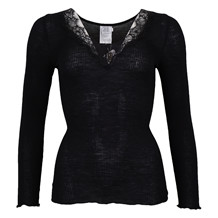 SAINT TROPEZ TOP W. LACE 0001 BLACK
