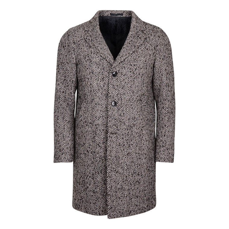 SAND RETRO TWEED COAT-GREY MIX