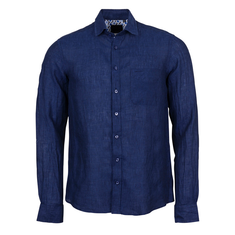 SAND SIMON TRIM LINEN SHIRT-NAVY