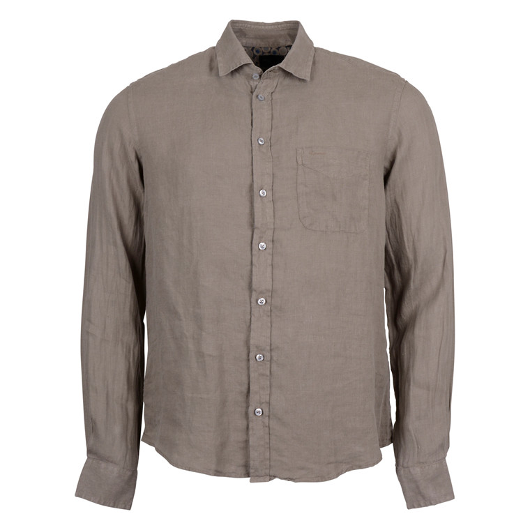 SAND SIMON TRIM SHIRT-OLIVE