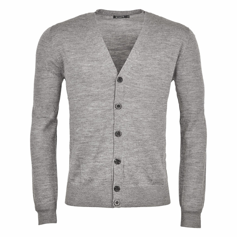 TIGER OF SWEDEN GREY CARDIGAN WOOL