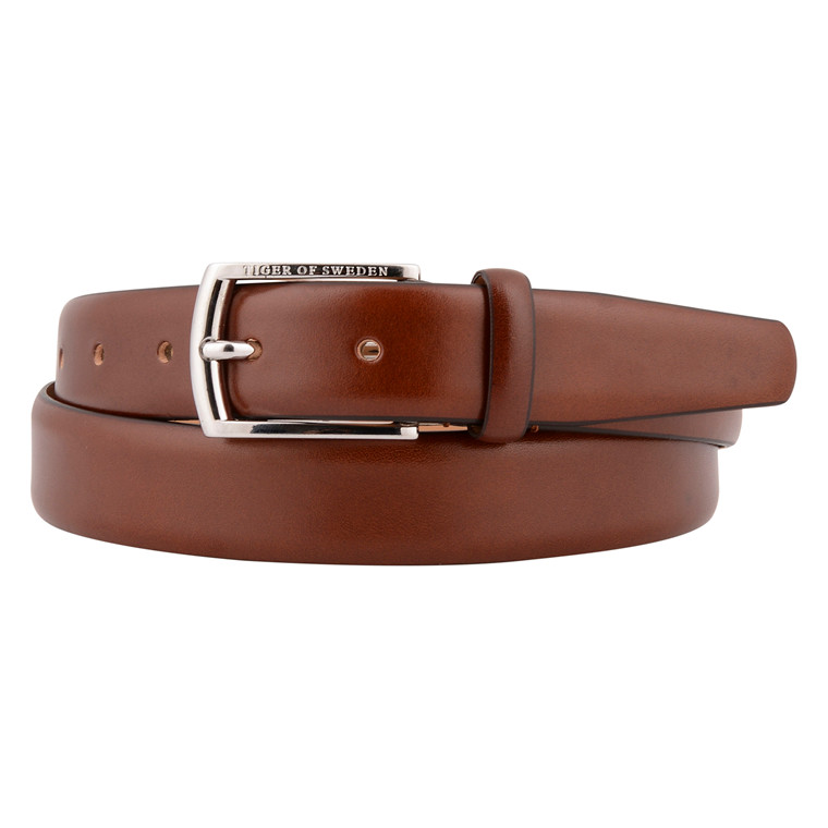 TIGER OF SWEDEN ASENBY BROWN LEATHER BELT