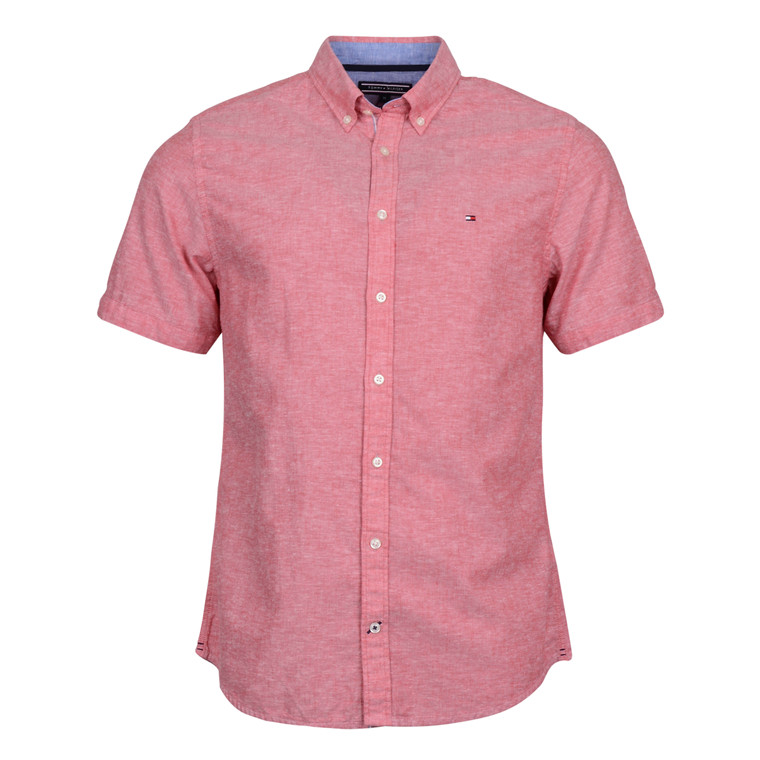 Tommy Hilfiger COTTON LINEN S/S SHIRT RED