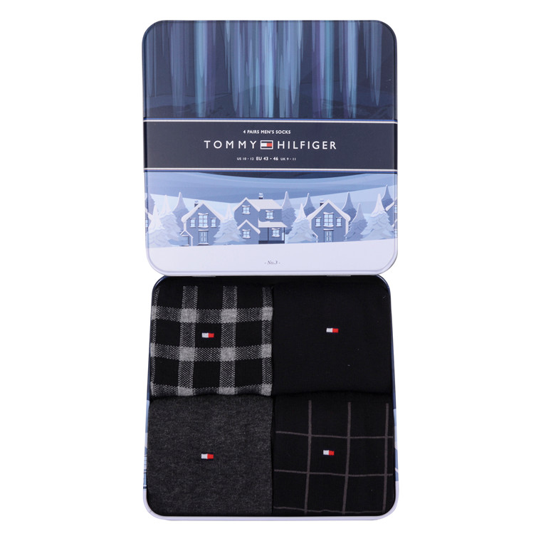 Tommy Hilfiger 4 PACK SOCK GIFT BOX-BLACK